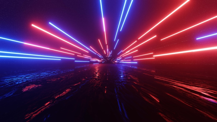 Horizontal glowing lines move in space. Abstract fluorescent background. Hyperspace. Neon background. 4K loop animation. #1042023280