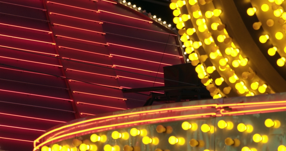 Light bulb and neon close crop of a casino marquee | Shutterstock HD Video #1042034695