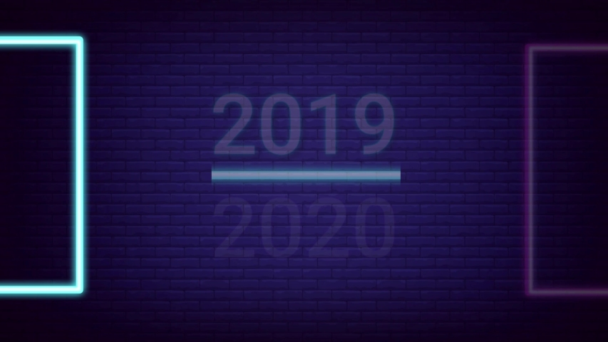 2019-2020 change Happy New Year 2020 neon sign background new year concept Resolution with Glowing effect on Brick wall Background.. 4K Animation. | Shutterstock HD Video #1042038880