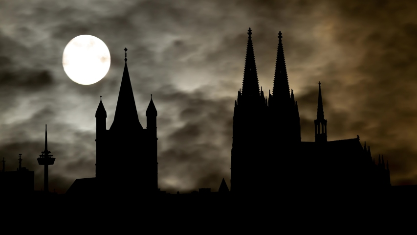Cologne: Skyline of City, Time Lapse by Night with Full Moon, Gothic Cathedral, Great St. Martin Church and Dark Sky, Germany   Shutterstock HD Video #1042072498
