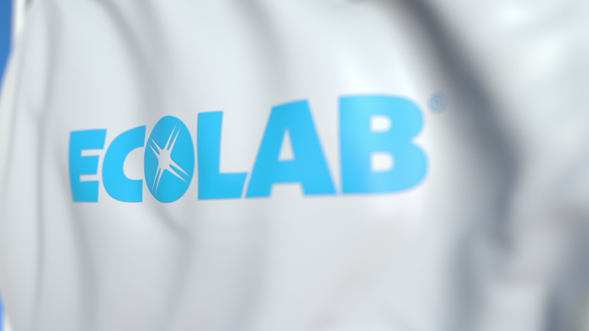 Flying flag with Ecolab logo, close-up. Editorial loopable 3D animation | Shutterstock HD Video #1042092664