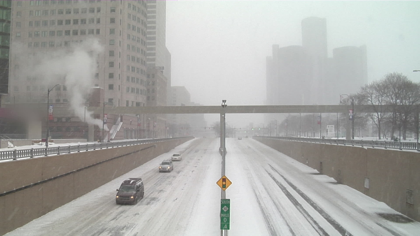 Snow falls on downtown Detroit, Michigan