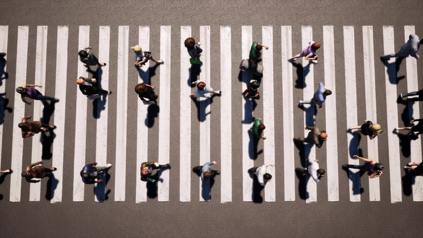 Large crowd of people cross the road at pedestrian crossing 4k | Shutterstock HD Video #1042096732