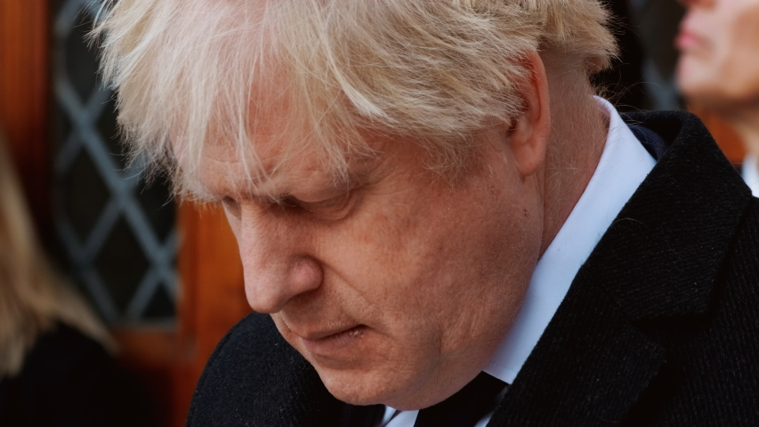 LONDON, December 2019 - Close-up of Boris Johnson, British Prime Minister, attending a ceremony in the City of London, England, UK