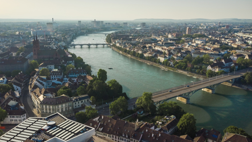 Sunny evening basel city center riverside aerial panorama 4k timelapse switzerland | Shutterstock HD Video #1042156531