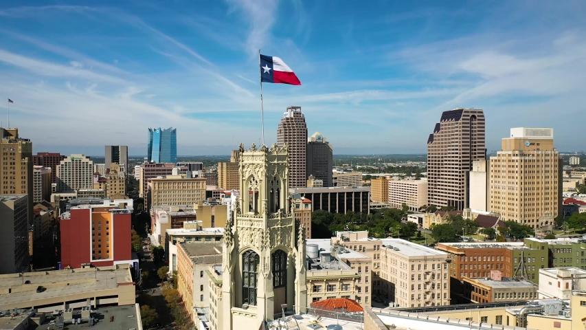 4K San Antonio Tx Fast Orbit Drone Aerial Rotate Downtown Background Cityscape