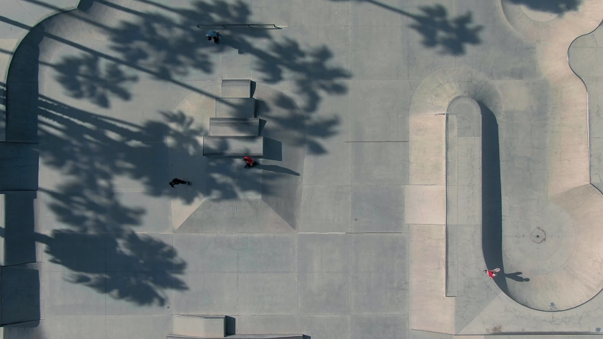 Aerial: Santa Barbara skate park. California, USA. 25 April 2019