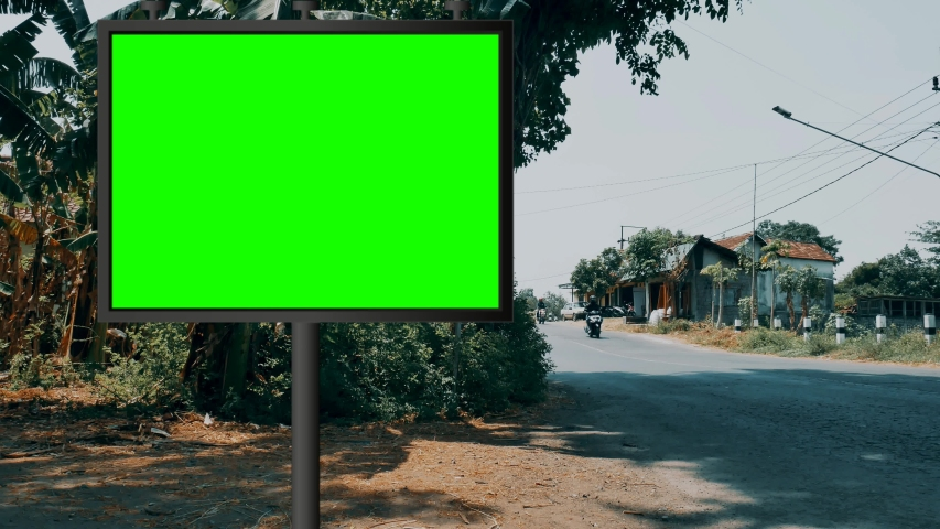 Street billboard green screen or chroma key with time lapse traffic background. Seamless loop for mock up advertisement | Shutterstock HD Video #1042164754