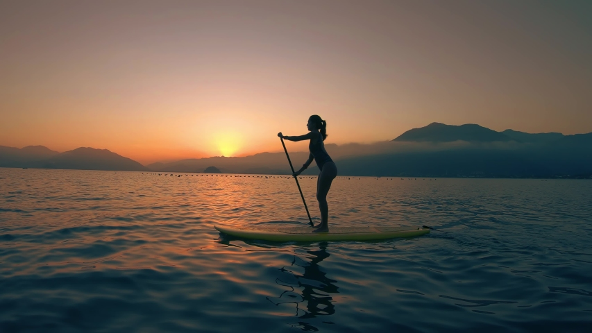 Stand Up Paddle Board Woman Silhouette on Water, Slow Motion Sunset Sea, SUP girl | Shutterstock HD Video #1042164943