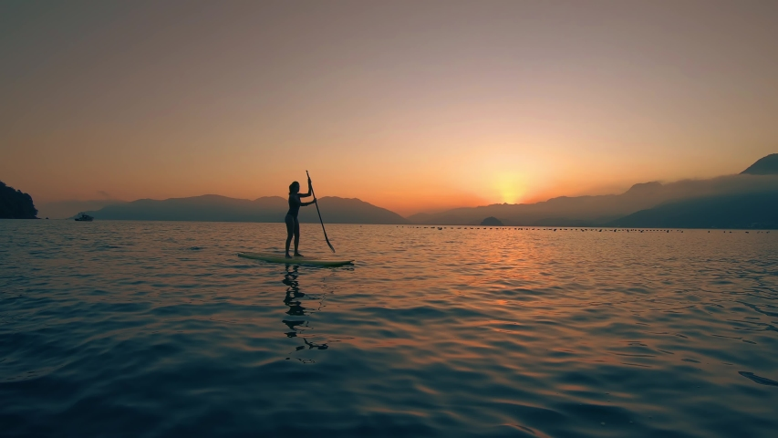 Golden sea Stand Up Paddle Board Woman Silhouette on Water, Slow Motion Sunset Sea, SUP girl | Shutterstock HD Video #1042164949