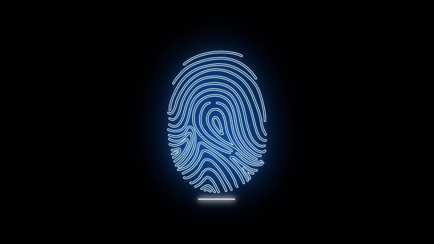 Finger-print Scanning Identification System. Biometric Authorizations and approval. concept of the future of security and password control through fingerprints in an advanced technological future. | Shutterstock HD Video #1042169044