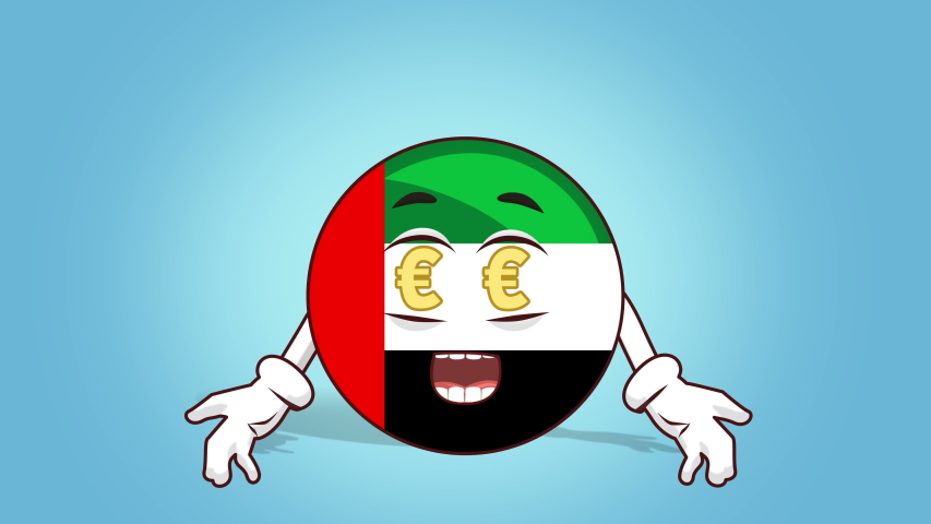 Cartoon Icon Flag UAE United Arab Emirates Face Animation Euro Signs in Eyes  | Shutterstock HD Video #1042178425