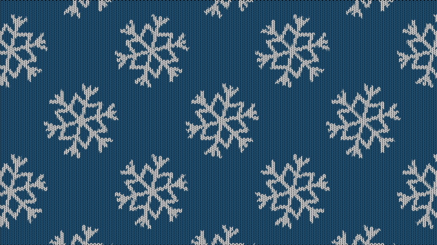 Knitted Snowflakes Background. Knitted Sweater Ornament. Scandinavian Sweater. Loop | Shutterstock HD Video #1042181326