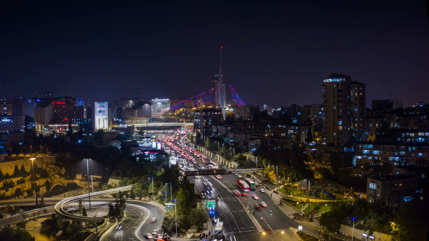 [Hyper Lapse] Jerusalem  city center at night, 4k aerial drone view time lapse