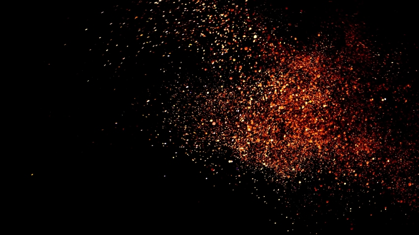 GOLDEN ( orange) Particles chaotically move among randomly moving colored circles on a black background.  #1042193371