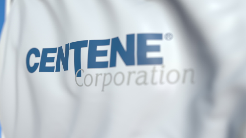 Flying flag with Centene Corporation logo, close-up. Editorial loopable 3D animation | Shutterstock HD Video #1042194115