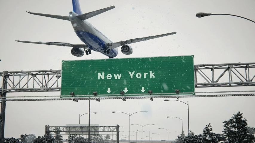 Airplane Landing New York in Christmas