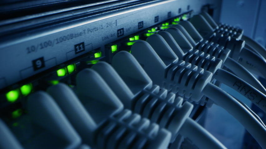 Macro Shot: Ethernet Data Cables Connected to Router Ports with Blinking Lights. Telecommunications: RJ45 Internet Connectors Plugged into Modem LAN Hub. Secure Data Center System Working Royalty-Free Stock Footage #1042199308