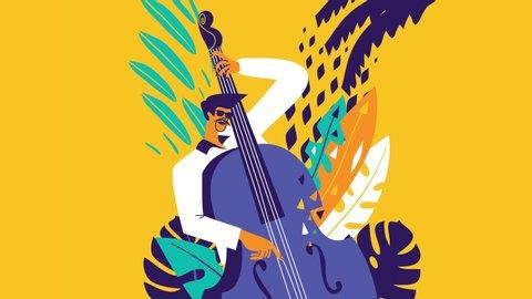 Jazz musician. Acoustic bass player. Modern flat design animation.