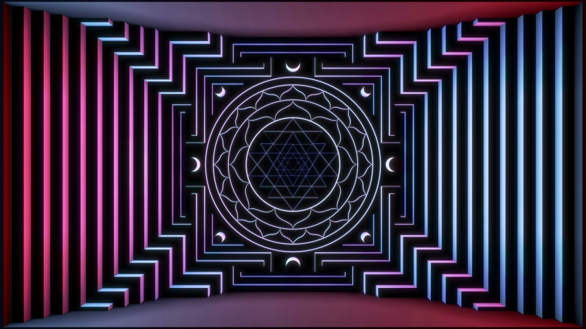 Neon blue Yantra 3D animation. Perfect 4K resolution video for TV show, stage and catwalk design, documentary movie or Tantra and sacred geometry related projects.