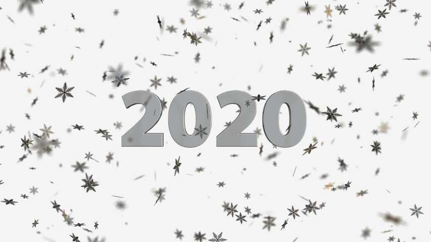 Golden 3D text animation 2020 with snowflakes in the background | Shutterstock HD Video #1042253518