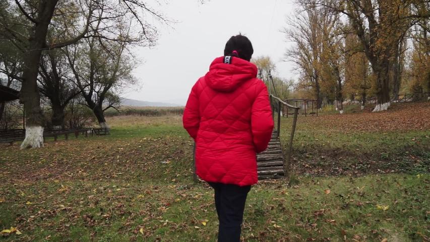 A woman in a red jacket walks on a wooden bridge in the autumn park | Shutterstock HD Video #1042254202
