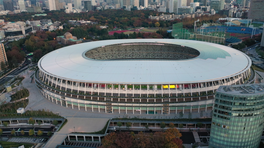 TOKYO, JAPAN - END OF 2019: Aerial view of New National Stadium, fully completed main stadium for Olympic Summer Games 2021 (originally 2020) at sunset.