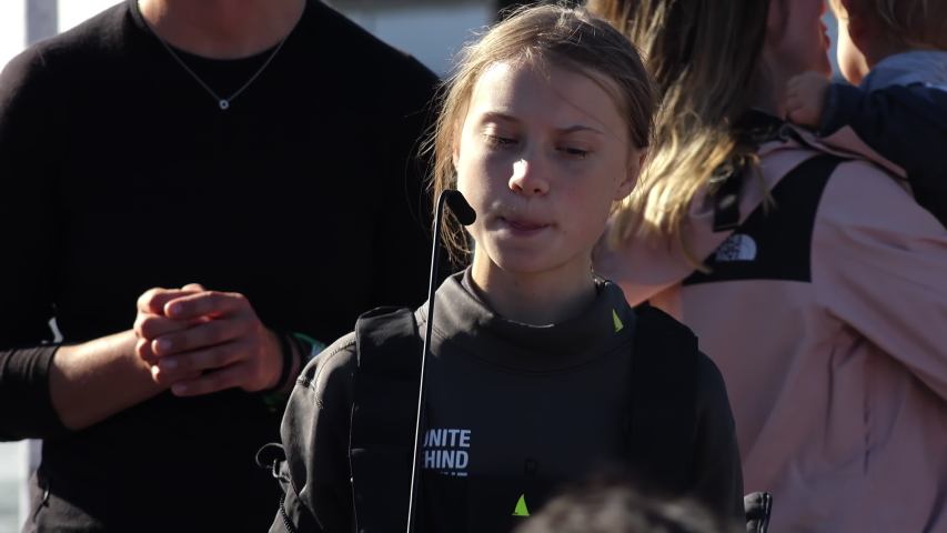 Greta Thunberg Speaks About Climate Changes, Portugal. LISBON, PORTUGAL - 03 DECEMBER 2019; Greta Thunberg gives a strong speech when arriving in the city of Lisbon, Portugal
