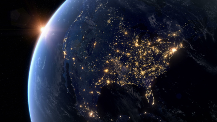 Blackout in North America. Huge Outage Hits North America and Surrounding Area. Power Outage Across All Continent. Royalty-Free Stock Footage #1042324759