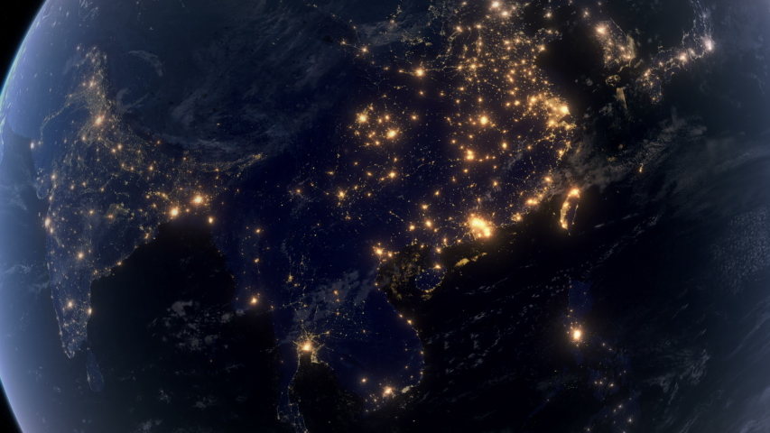 Blackout in Asia. Huge Outage Hits Asia and Surrounding Area. Power Outage Across All Continent. Royalty-Free Stock Footage #1042324867