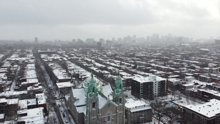 Aerial view of Montreal Plateau Mont-Royal church