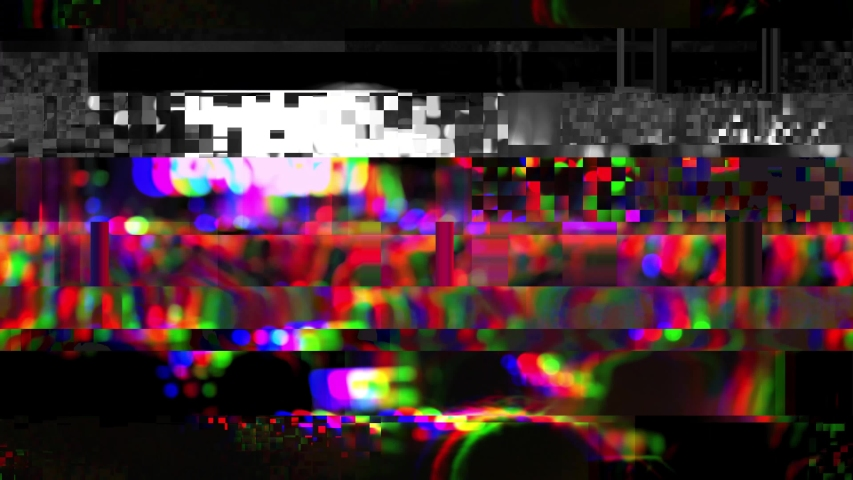 Glitch noise effect. Distortion video. People at a concert or night party in a Turkish resort. Blurred image as background. | Shutterstock HD Video #1042346638