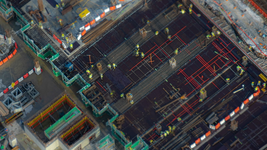 Aerial Big Construction Site Working Time Lapse Tilt-Shift. Prores 1080p.