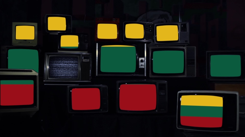 Flag of Lithuania and Retro TVs. Blue Dark Tone. Zoom In.  | Shutterstock HD Video #1042359913
