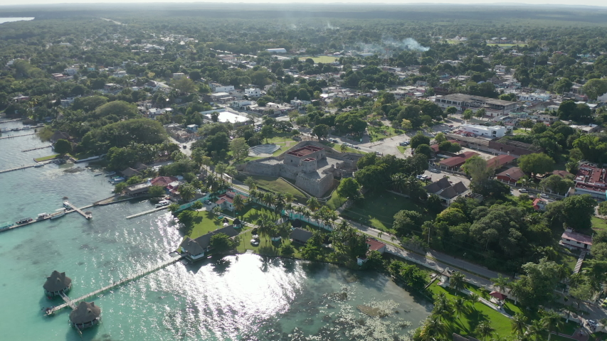 Montionless View of Historic Spanish Fort on the Coast of Small Town near Belize
