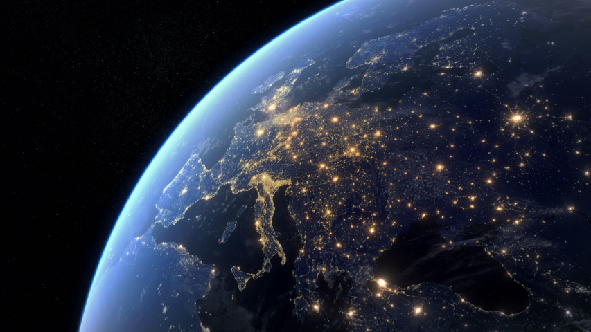 Blackout in Europe. Huge Outage Hits Europe and Surrounding Area. Power Outage Across All Continent. Royalty-Free Stock Footage #1042374229