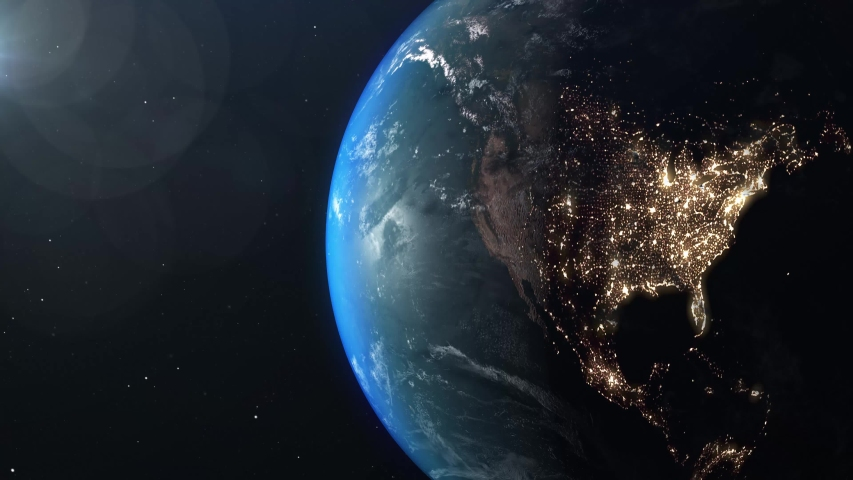 World and sun realistic 3D rendering. Shiny sunlight over Planet Earth, cosmos, atmosphere, america, usa . Shot from Space satellite | Shutterstock HD Video #1042388578