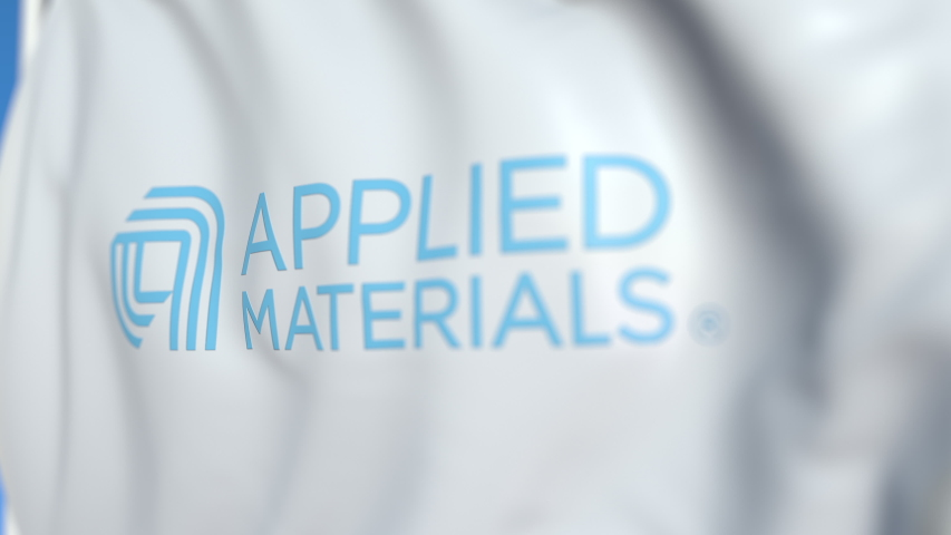 Flying flag with Applied Materials logo, close-up. Editorial loopable 3D animation | Shutterstock HD Video #1042394533