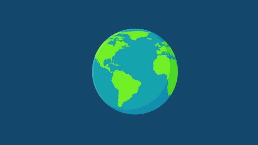 World movement Cartoon globe spinning around in space.
