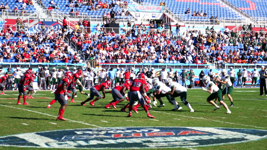 Boca Raton, Florida/USA - December 07, 2019: Florida Atlantic Owls vs UAB Blazers. 2019 Ryan C-USA Football Championship. College Football players on the field at FAU Stadium. Football footage.