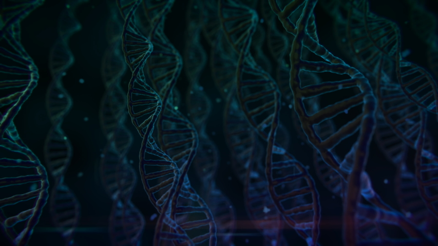 Abstract 3d DNA double helix with depth of field. Science animation.  | Shutterstock HD Video #1042421488