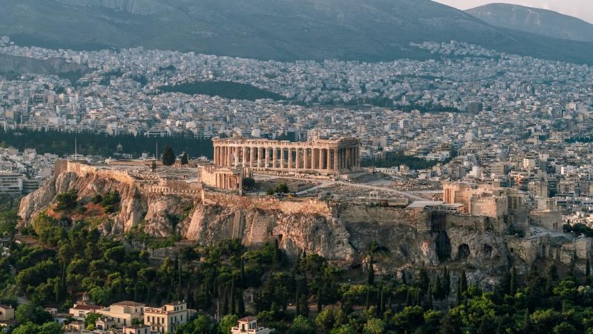 Establishing Aerial View Shot of Athens Parthenon Acropolis Greece Ancient Cecropia Erechtheion and Temple of Athena Nike