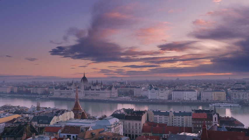 Dawn over Budapest. Panoramic view of the city and the building of the Budapest Parliament | Shutterstock HD Video #1042442818