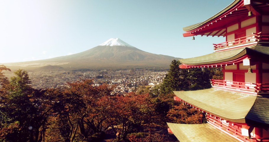 Drone shot of Fuji mountain and  traditional Chureito Pagoda Shrine from the hilltop of Arakurayama Sengen Park, Japan | Shutterstock HD Video #1042455433