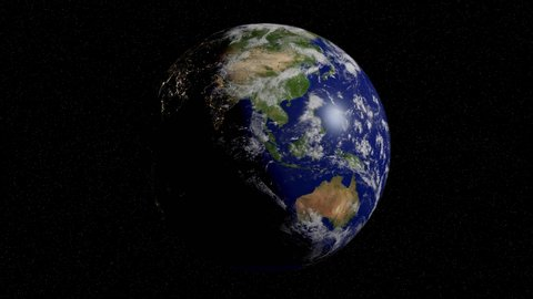 planet Earth rotating in space, solar system world in front of the stars, 4k loop