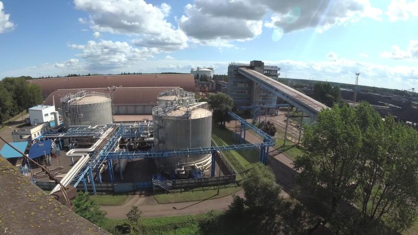 Swinoujscie / Poland - 08.2019. Port, oil refinery. 4K, UHD, 50p, Cinematic,Wide angle, | Shutterstock HD Video #1042477516
