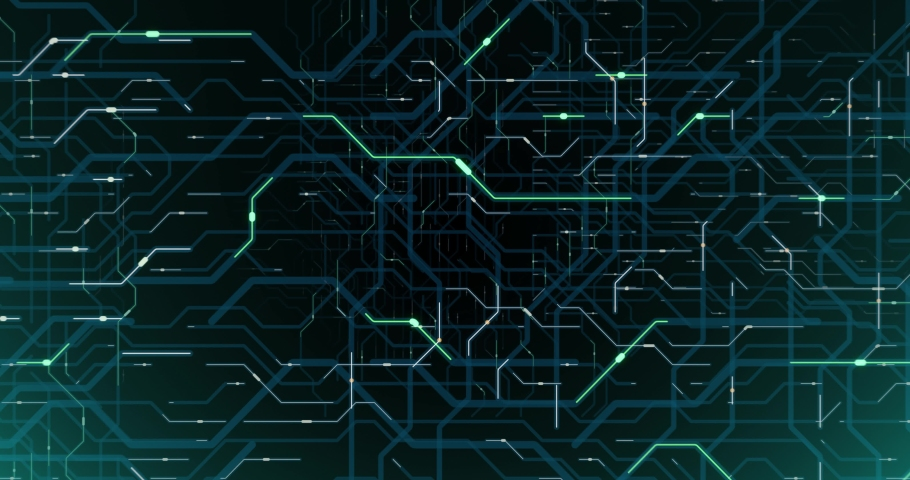 4K seamless loop of printed circuit board (PCB) in motion. Artificial intelligence (AI), data mining, deep learning modern computer technologies animation with printed circuit board design. 3D render Royalty-Free Stock Footage #1042488382
