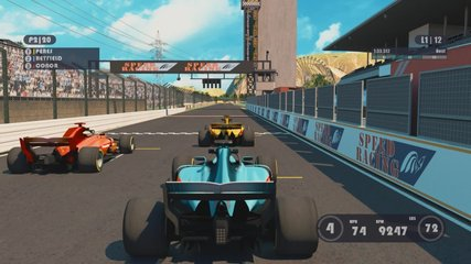 Speed Racing 3d Video Game With Interface. Sports Cars Compete On A Racing Track. Gameplay screen.