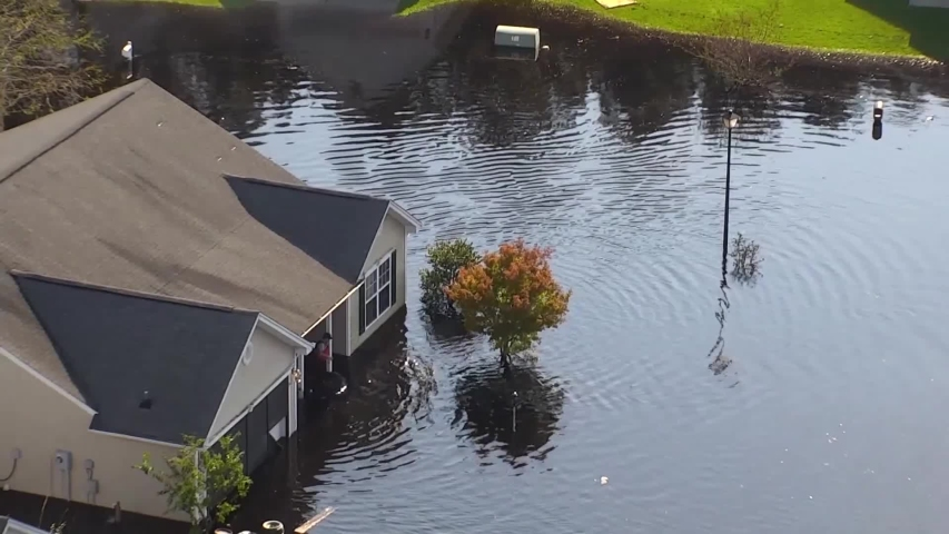 CIRCA 2018 - aerial shot over a flooded neighborhood in South Carolina in the aftermath of Hurricane Florence. Royalty-Free Stock Footage #1042512634