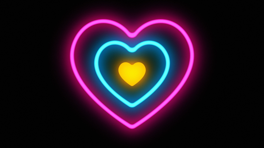 Glowing colorful Blue purple yellow neon heart hypnotize lights . Seamless VJ loop. Animation to the beat of music. 80's 90's style. Retro vintage disco. Heartbeat